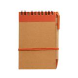Блокнот на пружине с авторучкой Papyrus B6, крафт/оранжевый фото