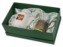 Чайный набор Эгоист, белый/ золотой, прозрачный фото