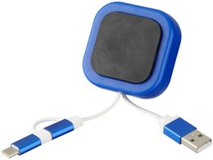 Магнитный держатель для телефона Chariot с кабелем 3-в-1, синий фото