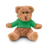 Медведь плюшевый в футболке, зеленый фото