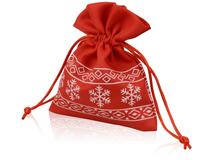 Мешочек подарочный новогодний с узором, красный/белый фото