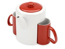 Набор: чайник, 2 чашки, Триптих, белый / красный фото