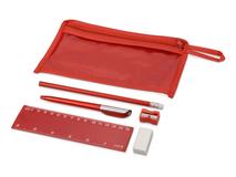 Набор канцелярский: ручка шариковая, карандаш, точилка, ластик, линейка в чехле, красный фото