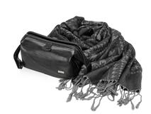Набор женский: несессер, шарф (кожа, цвет черный/серый) фото