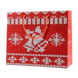 Пакет малый Oh my bells, 32*27*11 см, флокированный, белый/ красный фото