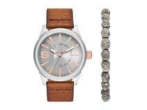Подарочный набор: часы наручные мужские, браслет, цвет коричневый фото
