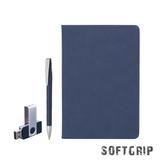 Подарочный набор Комо: ежедневник недатированный, ручка, флеш-карта, покрытие soft grip, 8Gb, синий фото