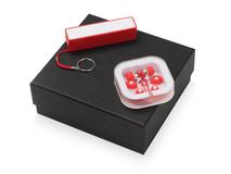 Подарочный набор Non-stop music с наушниками и зарядным устройством, красный фото