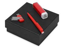 Подарочный набор On-the-go с флешкой, ручкой и зарядным устройством, красный фото