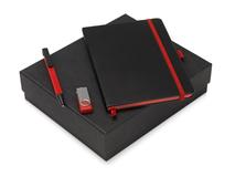 Подарочный набор Q-edge с флешкой, ручкой-подставкой и блокнотом А5, черный/ красный фото
