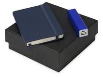 Подарочный набор To go с блокнотом А6 и зарядным устройством, синий фото