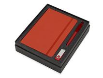 Подарочный набор Vision Pro Plus soft-touch с флешкой, ручкой и блокнотом А5, красный фото