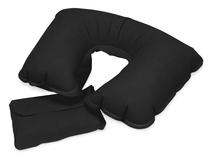 Подушка надувная под голову в чехле, черный фото