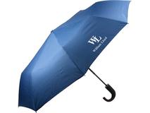 Зонт складной полуавтоматический, синий, с изогнутой ручкой фото
