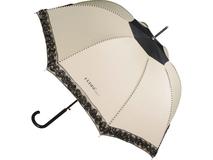 Зонт трость полуавтомат женский, глубокий купол, черный/ коричневый фото