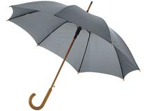 Зонт трость полуавтомат с изогнутой деревянной ручкой Kyle, серый фото