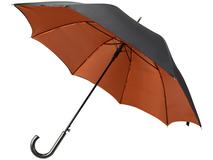 Зонт трость полуавтомат двухслойный Гламур, черный/ оранжевый фото