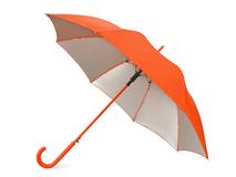 Зонт трость полуавтомат Silver Color с серебряной подкладкой, оранжевый/ серый фото