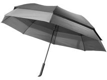 Зонт трость противоштормовой полуавтомат двойной купол, черный /серый фото