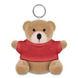 Брелок мягкая игрушка мишка, коричневый/красный фото
