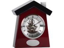 Часы настольные Домик, серебряный/серый, коричневый фото