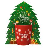 Коробка-украшение для чашки( D=9 см) в виде елки, белый фото