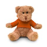 Медведь плюшевый в футболке, оранжевый фото