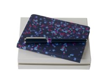 Набор: блокнот A6 и ручка роллер, синий/ серый фото