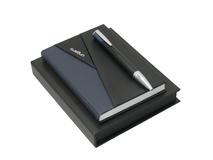 Набор: блокнот A6 и ручка шариковая, черный/ синий, серый фото