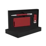 """Набор Chili: Ручка шариковая """"Clas"""", флеш-карта """"Vostok"""" 8 Гб и зарядное устройство """"Theta"""" 4000 mAh, покрытие soft touch, красный фото"""
