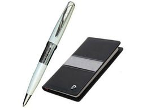 Набор: ручка шариковая, записная книжка, черный/ белый, серый фото
