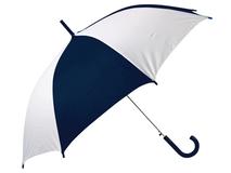 Зонт трость полуавтомат, купол с сегментами Тилос, белый/ синий фото