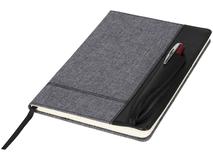 Блокнот на резинке с карманом под авторучку А5, черный/деним фото