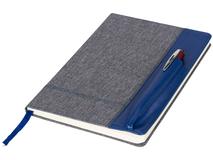Блокнот на резинке с карманом под авторучку А5, синий/деним фото