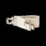Флешка брелок Промоскин, металлическая с кожаными вставками, белая, 32Гб фото