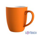Кружка с прорезиненной поверхностью, оранжевый фото