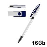 Набор авторучка + флеш-карта 16Гб в футляре, белый/ синий фото