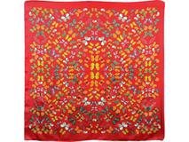 Платок шелковый, красный фото