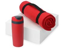 Подарочный набор Cozy с пледом и термокружкой, красный фото