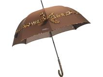 Зонт трость автомат с бантом, коричневый фото