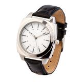 Часы наручные, искусственная кожа, серебряный/темно-коричневый фото