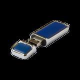 Флешка Брусок, металлическая с кожаными вставками, синяя, 4Гб фото