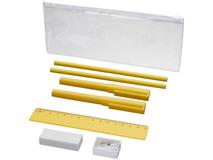 Набор Mindy: ручки шариковые, карандаши, линейка, точилка, ластик, желтый фото