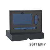 """Набор подарочный 3 предмета: Ручка шариковая """"Jupiter SOFTGRIP"""", флешка """"Камень"""" 16GB, Зарядное устройство """"Камень""""  4000 mAh, синий фото"""
