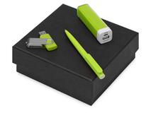 Подарочный набор On-the-go с флешкой, ручкой и зарядным устройством, зеленый фото