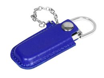 Флешка металлическая на 32 Гб в кожаном чехле на цепочке, синий фото
