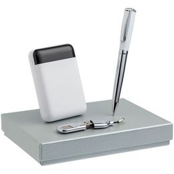 Набор High Class (внешний аккумулятор 10000 мАч, флешка 32 Гб, ручка Bison), белый фото