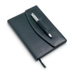 Блокнот с авторучкой А5, иск. Кожа, 120 листов, черный фото