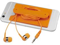 Набор: наушники, бумажник для телефона, оранжевый фото