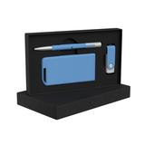 Набор ручка Clas + флеш-карта Vostok 8Гб + зарядное устройство Theta 4000 mAh в футляре, синий фото